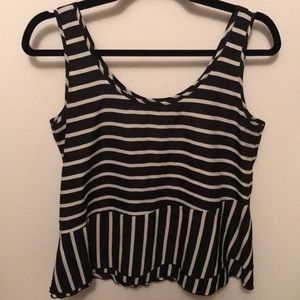 Black and white striped silky tank top